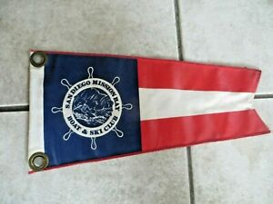 SAN DIEGO MISSION BAY BOAT & SKI CLUB DOUBLE SIDED BOAT FLAG PENDENT VINTAGE