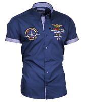 Binder de Luxe Hemd Herrenhemd Shirt Kurzarm Stick Button Down Kragen 82604 blau