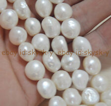 "HUGE BAROQUE 12-15mm WHITE FRESHWATER CULTURED REAL PEARL LOOSE BEADS 14.5"" AA"
