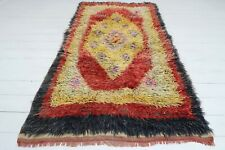 "Anatolian Turkish Antalya Nomads Shaggy Rug Mohair Carpet Long Rug 42,1""x76,3"""