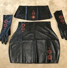 New 100% Latex 4 Piece Outfit Skirt Tube Top Gloves Sz M/L Red 🔴 Detail Fetish