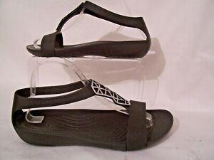 Ladies CROCS UK 8 (W10) Black Sandals W' Silver Pattern Never Worn