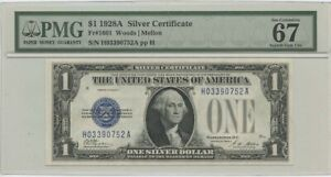 1928A $1 Silver Cert FR#1601 PMG Superb Gem 67 UNC EPQ