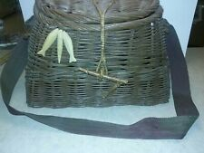 True Vintage Large Wicker Fly Fishing Creel Trout River Fish Basket Anglers