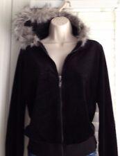 NWT Charter Club Classic Black Velour Front Zip Faux Fur Trim Hoodie Size S