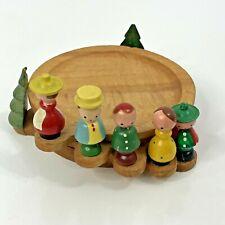 Stacking Coaster Set Italy Wood Craft Vintage Villagers People Tree