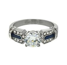 Women Engagement Ring Blue Accentsize 9 Stainless Steel Round Cut Cubic Zirconia