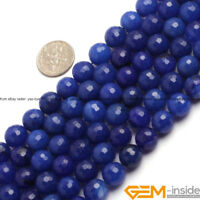 "Blue Jade Gemstone Faceted Round Loose Spacer Beads For Jewelry Making 15""Strand"