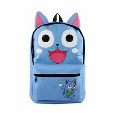 Anime Fairy Tail Happy Backpack Blue Canvas Schoolbag Shoulder Travel Hiking Bag
