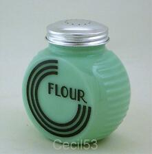 JADEITE JADITE ART DECO ROUND KITCHEN GLASS FLOUR SHAKER JAR - SHIPS FREE