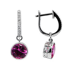 14K WHITE GOLD DIAMOND PINK TOPAZ ROUND DANGLE DANGLING HALO EARRINGS