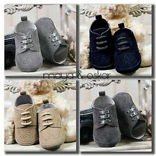 BABY BOYS FAUX SUEDE PRAM SHOES CHRISTENING WEDDING SMART FORMAL PARTY 3-18m