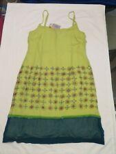 Oilily Silk Sundress Dress Green Snowflake Pattern Spaghetti Straps Size 40 NWT