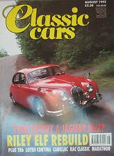 Classic Cars 08/1992 featuirng Lotus Cortina, Riley Elf, Jaguar Mk2, Cadillac