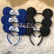 12 Mickey Mouse Ears Blue Black Sparkle Headbands Birthday Favors Minnie Costume