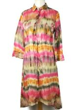 Zara Pink Tie Dye Button Down High Low Aline Flared Linen Dress Size M