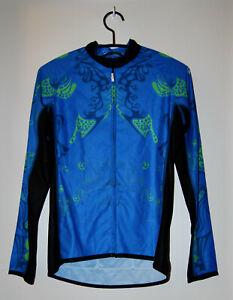 NWT Canari Women's Blue Graphic Print Zip-Up Cycling LS Jacket sz M