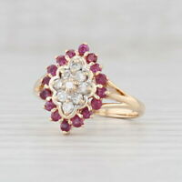 New 0.74ctw Ruby Diamond Ring 14k Yellow Gold Size 6.25 Cluster Halo