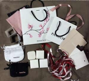 PANDORA Authentic Ring Charm Boxes Bags Ribbon Tissue EMPTY X 23 Pcs BIG LOT