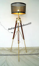 Vintage Floor Shade Lamp With Tripod Stand Home Decor Nautical Lighting Style