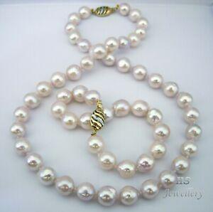 HS Baroque Japanese Akoya Pearl 10X11mm Bracelet & Necklace Set 14K w/ Diamonds