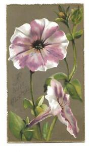 A Happy Christmas Purple & White Flowers Gold Trim Raphael Tuck Vict Card c1880s