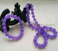 Fashion Beautiful 10MM Lavender Purple Jade Gems Necklace & Bracelet Jewelry Set