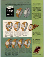1951 PAPER AD 4 PG Clinton Wrist Watch Store Display Showcase incabloc