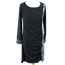 ROBERTO NALDI Sequin Ruched Long Sleeve Midi Dress 14 Black Blue Party Occasion
