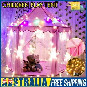 Kids Fairy Princess Castle Play House Hexagon Toy Tent Pop Up Tent + LED Light