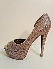 Betsey Johnson Multi-color Glitter Snackss Platform Peep Toe Stilettos Size 9.5