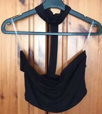 Black Bead Backless Crop Top Size 8 10 Bandeau Choker Neck Harness Strappy Back