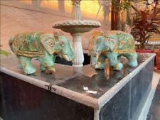 Antique Paper Mache Hand Crafted Painted Decor Elephant Pair Figurine