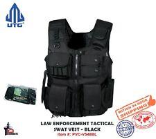 UTG Law Enforcement Tactical SWAT Vest, Black with Holster & Pouches PVC-V548BL