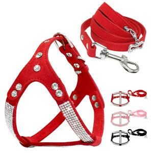 Bling Rhinestone Dog Suede Leather Harness and Lead for Pet Puppy Walking Vest