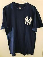MAJESTIC DEREK JETER T SHIRT XL MLB NEW YORK YANKEES SHORT SLEEVES BLUE & WHITE