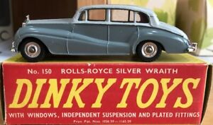 """Dinky Toys 150 Rolls Royce Silver Wraith VNM in Original Box """"USED"""""""