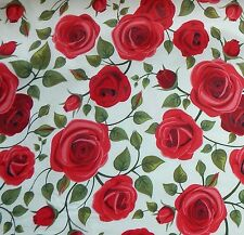 1m Red Roses on Ivory Cotton Polyester Chambray Fabric - Beautiful Quality Drape