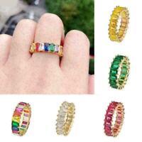 Schöne runde Regenbogen-Verlobungsring Rose Gold Hochzeit Schmuck Size6-9 R G0A5