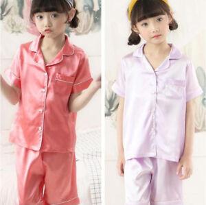 Kids Child Silk Satin Pajamas Pyjamas Girls Short Sleeve Sleepwear Sets Suits F6