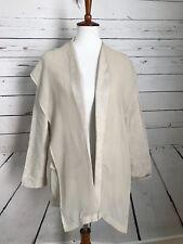 Chico's Women's Long Sleeve Open Front Cardigan 0 Beige Silk Linen Sweater