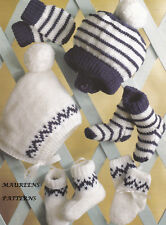 Knitting Pattern to MAKE Baby Girls/Boys Hats/Bootees/Mitts/Socks DK 0-6 months