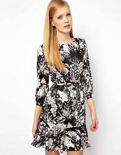 Karen Millen Floral Print Bow Belt Dress Black White Silk UK Size 8 10 14 16