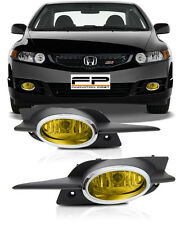 09-11 Honda Civic Coupe Fog Lights JDM Yellow Front Bumper Lamps Complete Kit