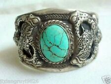 turquoise cuff bracelet Men's tibet silver inlay