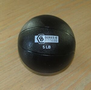 """5 LB Series 8 MEDICINE Fitness BALL 5"""" Round Weighted Soft Black"""