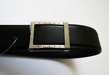 $1100 STEFANO RICCI Black Calf Leather Belt with Silver Buckle Size 42 US 105 CM