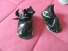 "20 PAIR DOLL SHOES NOS VINTAGE BLACK PATENT W/STRAP & SLIDE BUCKLE 2.5"" X 1 1/8"