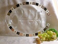 Anchor Hocking Retro Design Meat Serving Dish Mid Century Modern Black And Gold