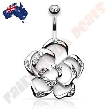 316L Surgical Steel Gem Belly Ring with CZ Gem White Flower
